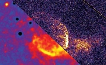 A giant interstellar bubble being blown in the Andromeda Galaxy