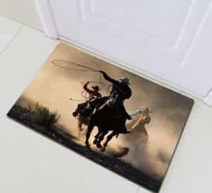 cowboy welcome front door mat