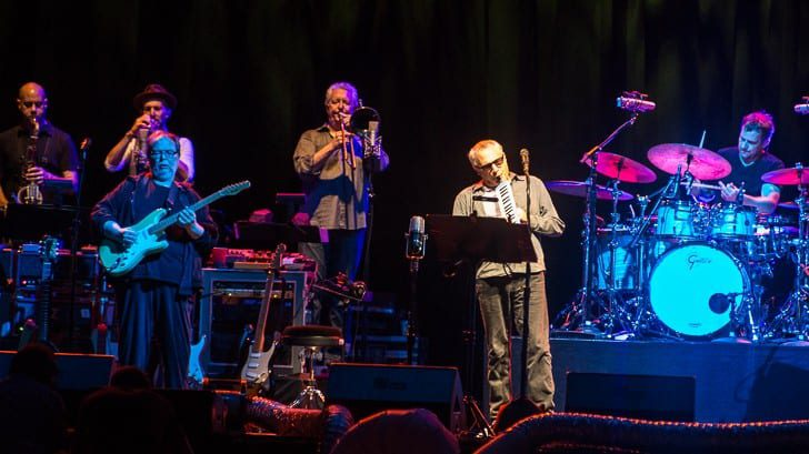 BOSTON, MA - JULY 30: Steely Dan, led by founding members Donald Fagan and Walter Becker, play a deep selection from their discography. Support from Elvis Costello and the Imposters. Shot at the Blue Hills Bank Pavilion on Thursday, July 30, 2015.  All Rights Reserved © Tim Bugbee