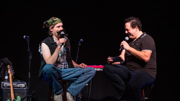 CAMBRIDGE, MA - NOVEMBER 29: The Best Show, a radio show on WMFU, hit the road with its two creators, Tom Scharpling and Jon Wurster. Featured guests included Mark Robinson, Mike Gent and Red Sox organist Josh Kantor. Shot at The SInclair on Sunday, November 29, 2015.