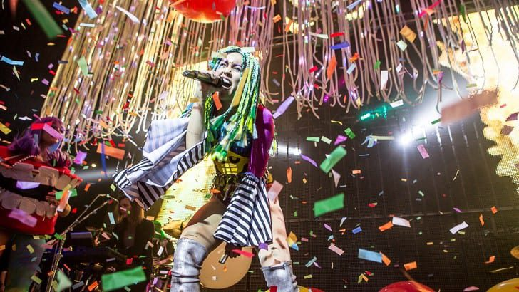 BOSTON, MA - DECEMBER 6: Miley Cyrus teams up with Wayne Coyne and The Flaming Lips for the Dead Petz tour, featuring music from their freely available album Milky Milky Milk. Support by Dan Deacon. Shot at The House Of Blues on Sunday, December 6, 2015.  All Rights Reserved © Tim Bugbee