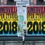 Somerville Open Studios poster at Porter Square Mall. Photo by Jason Pramas.