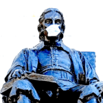 Collage of John Harvard Statue with a mask