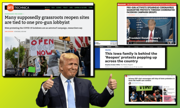 image with President Trump surrounded by quotes about right-wing protests to end coronavirus stay at home orders