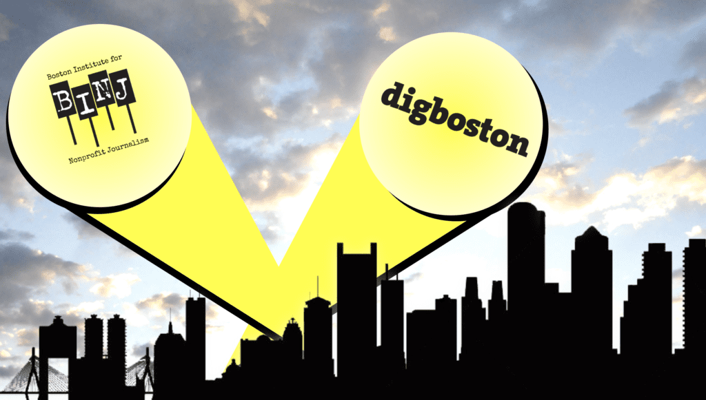 DigBoston and BINJ logos in spotlights on sky over Boston skyline