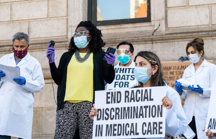 White Coats for Black Lives rally in Boston