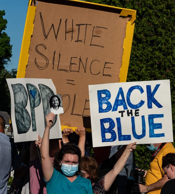 Blue Lives Matter protest countered by Black Lives Matter protest in West Roxbury